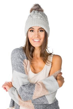 Chunky Cable Knit Hat with Pompom