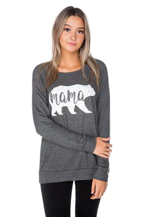 "French Terry Sweatshirt with ""Mama"" Bear Graphic"
