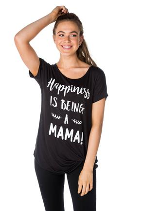 """Happiness is being a Mama"" Graphic Tee with Knotted Hem"