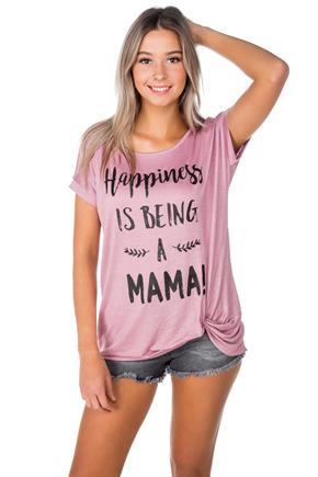 "T-shirt à imprimé ""Happiness is being a Mama"" avec ourlet noué"