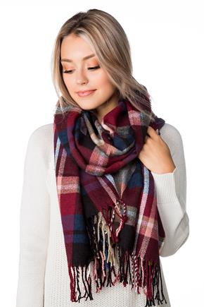 Blue and Burgundy Plaid Oblong Scarf