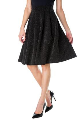 Glitter Knit Pleated Midi Skirt