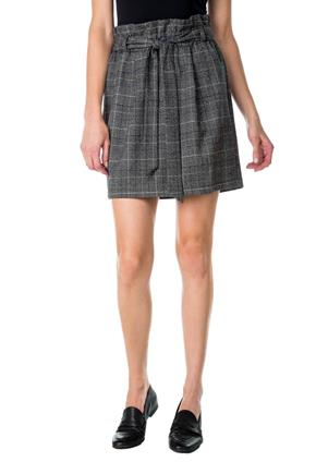Plaid Paperbag Skirt with Tie-Belt