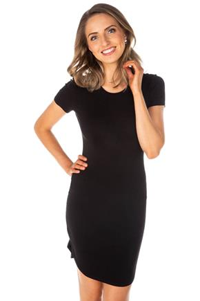 Short Sleeve Bodycon Dress with Shirttail Hem