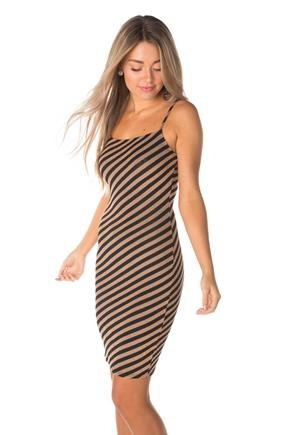 Striped Lurex Bodycon Dress with Spaghetti Straps