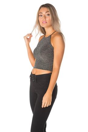 Glitter High Neck Crop Top