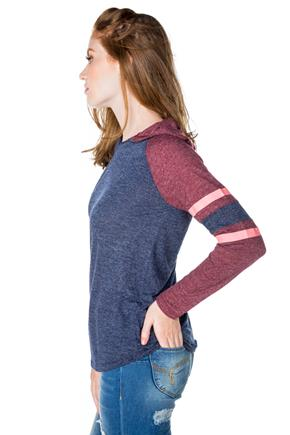 Long Sleeve T-shirt with Stripes and Hood