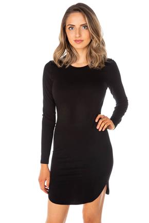 Long Sleeve Bodycon Dress with Shirttail Hem