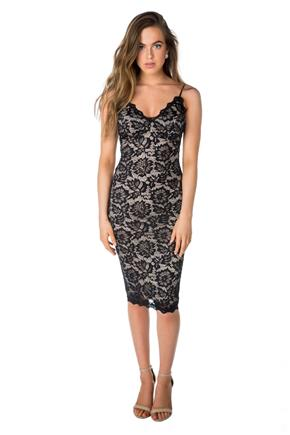 Lace Spaghetti Strap Midi Dress