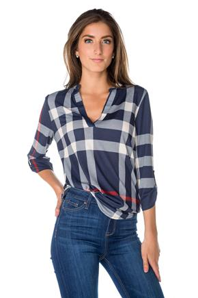 Plaid Blouse with Roll-up Sleeves
