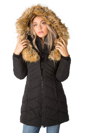 Point Zero Quilted Parka with Fur Trim Hood