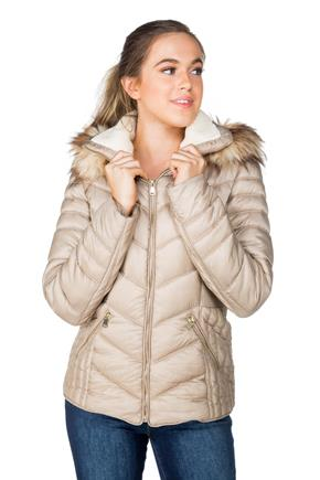 Quilted Winter Jacket with Fur Trim Hood