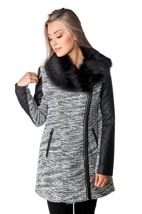 Asymmetrical Coat with Faux Fur Collar and Faux Leather Trim
