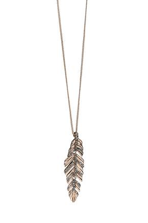 Rhinestone Feather Necklace