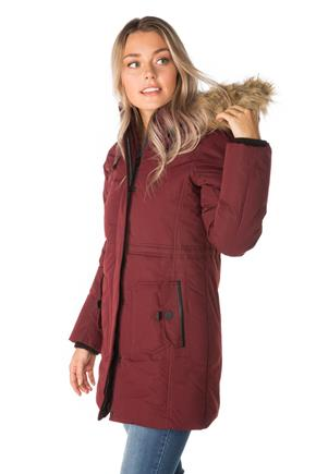 Oxford Parka with Covered Placket and Fur Trim Hood