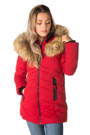 Oxford Quilted Parka with Fur Trim Hood