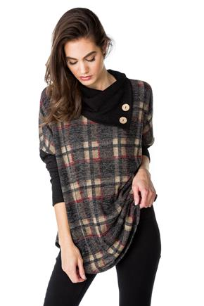 Plaid Split Neck Poncho