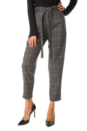 Plaid Cropped Trouser with Tie-Belt
