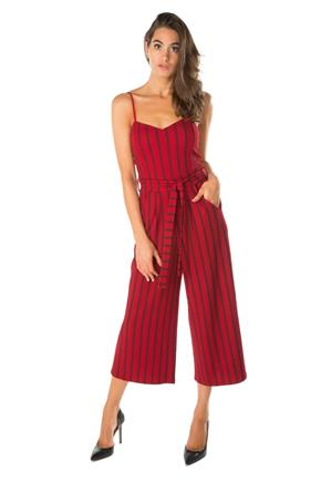 Striped Spaghetti Strap Culotte Jumpsuit