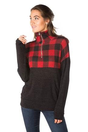 Buffalo Plaid Half-Zip Sweatshirt