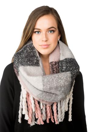 Plaid Oblong Scarf with Chunky Fringe