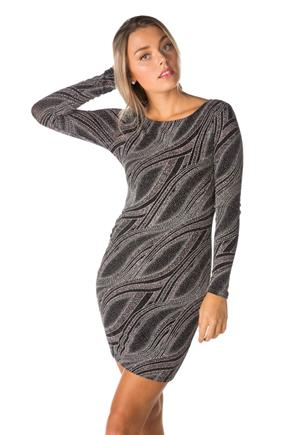 Wave Glitter Knit Bodycon Dress with Deep V Back