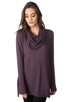 SuperSoft Cowl Neck Sweater with Side Slits