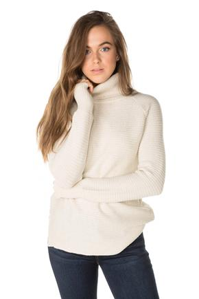 Horizontal Ribbed Turtleneck Sweater