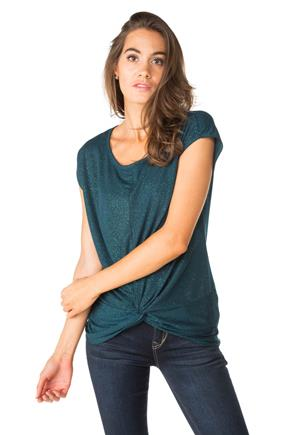 Glitter Sleeveless Top with Knotted Front