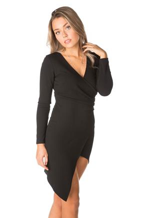 Knit Crepe Long Sleeve Crossover Dress