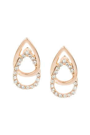 Double Teardrop Stud with Rhinestones