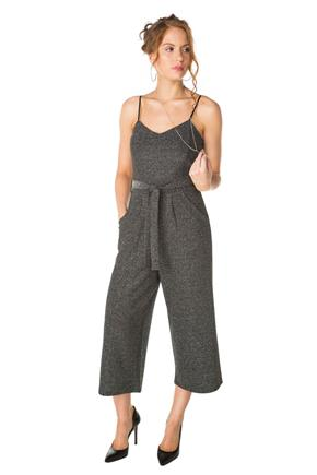 Glitter Knit Jumpsuit with Tie Belt