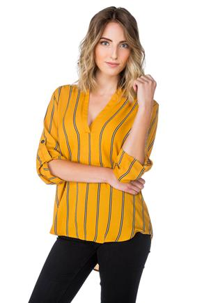 Striped Blouse with Roll-up Sleeves
