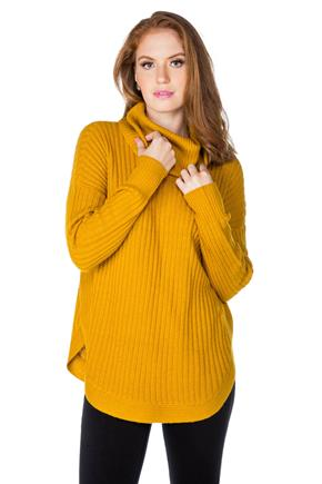 Long Sleeve Cowl Neck Sweater with Circle Hem
