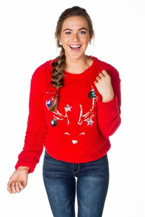 Sherpa Sweatshirt with Reindeer and Bulbs Applique
