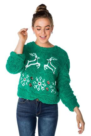 Sherpa Sweatshirt with Reindeers and Snowflakes Applique