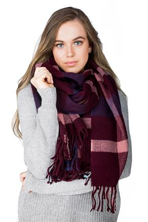 Burgundy and Blue Plaid Oblong Scarf