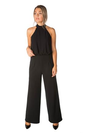Wide Leg Jumpsuit with Mock Neck