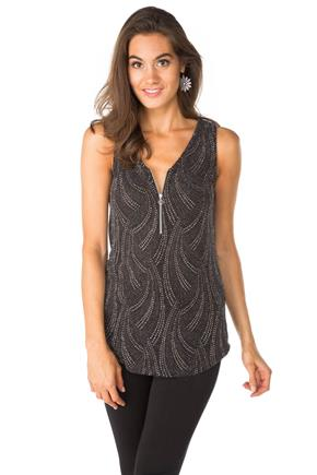 Spray Glitter Knit Tank with Half-Zipper