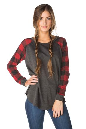 Baseball Top with Buffalo Plaid Sleeves