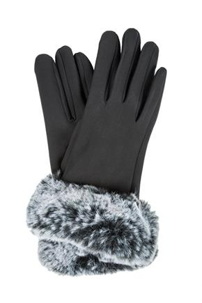 Stretch Glove with Frosted Faux Fur Cuff