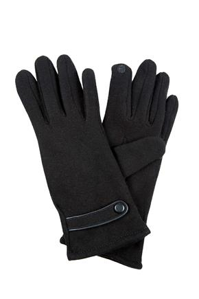 Tricot Glove with Faux Leather Trim and Button