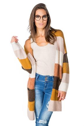 Multi-stripe Long Cardigan with Pockets