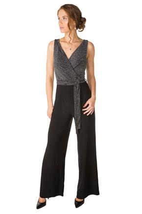 Jumpsuit with Swirl Glitter Crossover Top and Tie-Belt