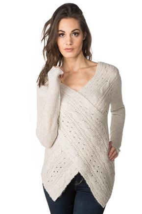 Cable Knit Crossover Wrap Sweater