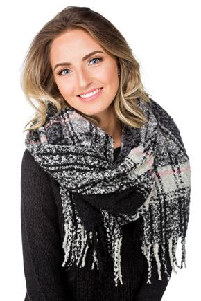 Foulard bouclé oblongue carreaux