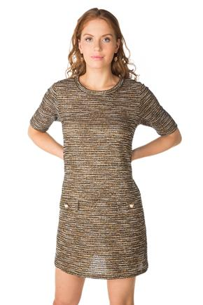 Tweed A-Line Dress with Pearl Button