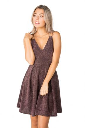 Glitter V-neck Multi Strap Skater Dress