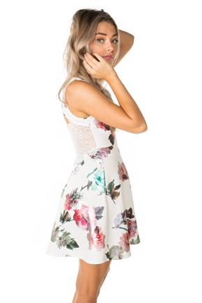 Foil Floral Skater Dress with Back Lace Trim