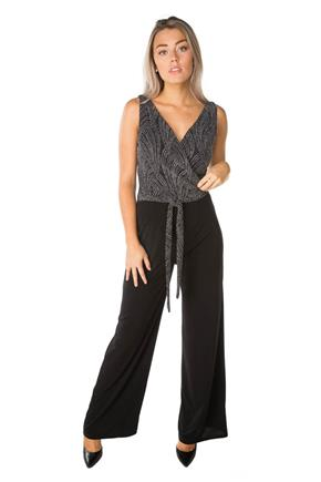Jumpsuit with Glitter Crossover Top and Tie-Belt